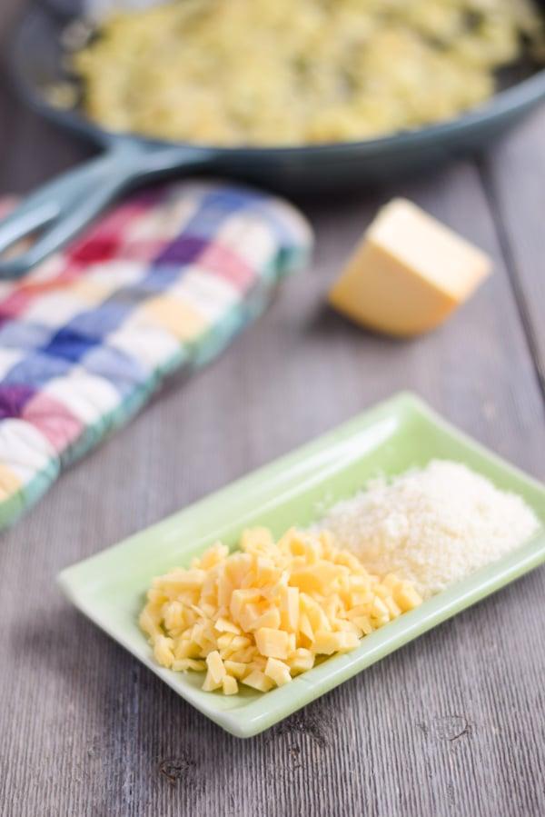 chopped gouda and sautéed onions for the Gouda Stuffed Zucchini boats