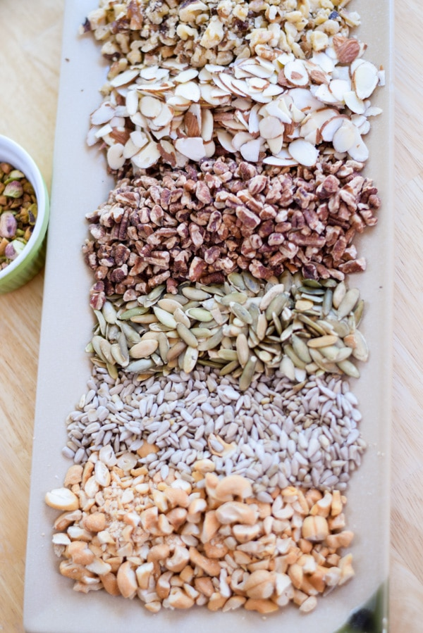 Arial view of the nuts on the plate for paleo granola