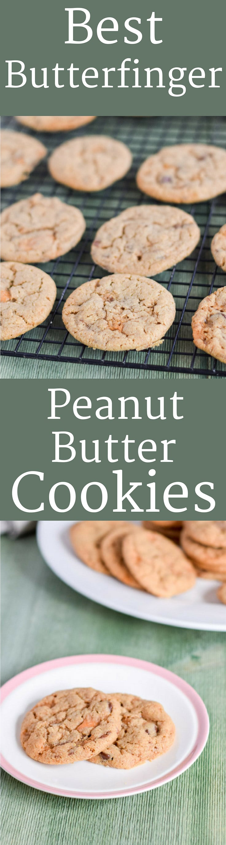 Best Butterfinger Cookies are crunchy, delicious and perfect for your cookie tray!  Who wants a cookie!?? #cookies #peanutbutter #butterfingers http://ddel.co/butterfinger-cookies
