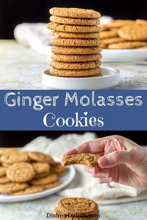 These ginger molasses cookies are so popular.  Everyone clamors to eat these delectable cookies. They are soft and the perfect balance between sweet and spice. #ginger #cookies #molasses #dishesdelish