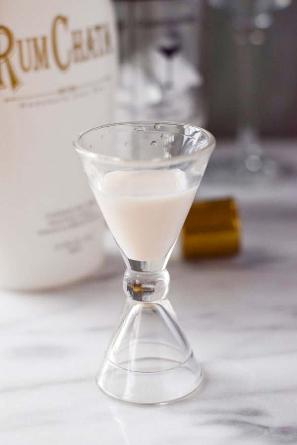 RumChata ready to be added to a muddy chocolate martini