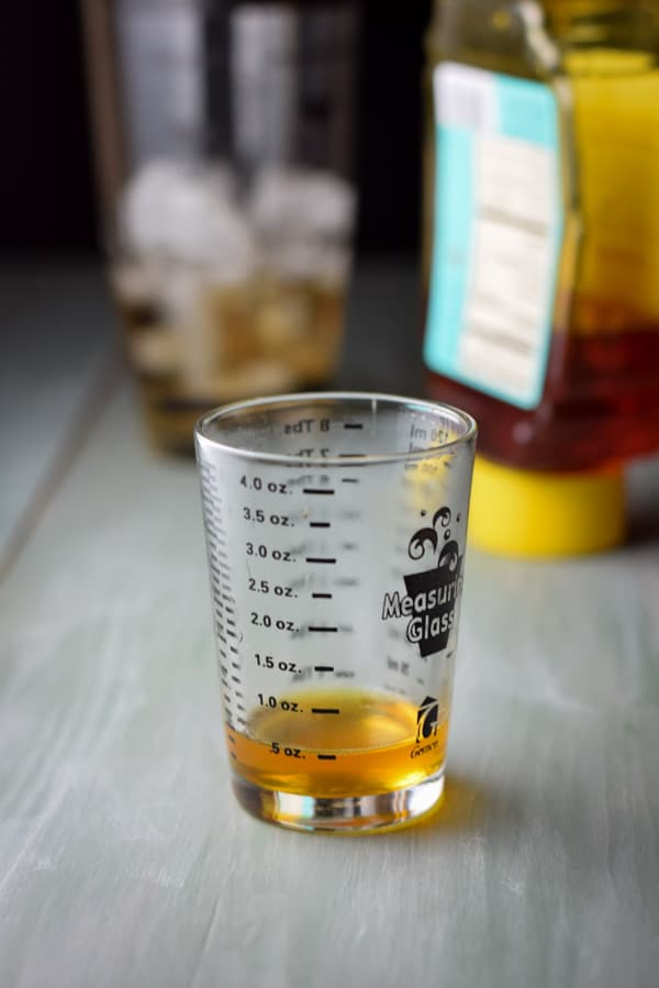 1/2 ounce of honey and 1/2 ounce of water for the honey syrup for the airmail cocktail