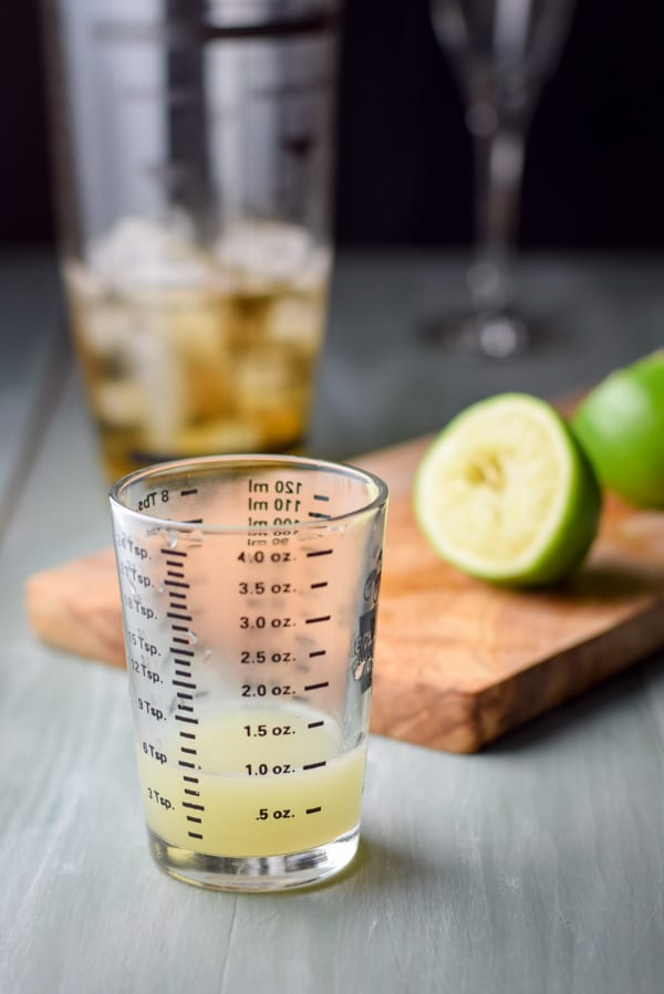 Fresh lime juice for the airmail cocktail