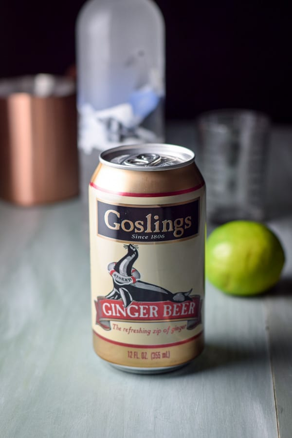 Ginger beer, lime and vodka for the cocktail