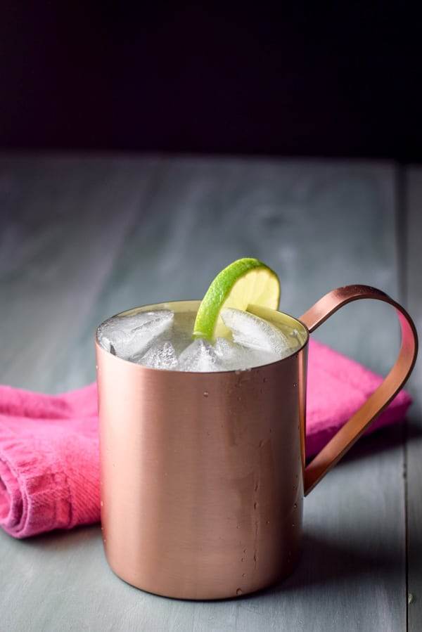Close up of the Moscow mule in a copper mug