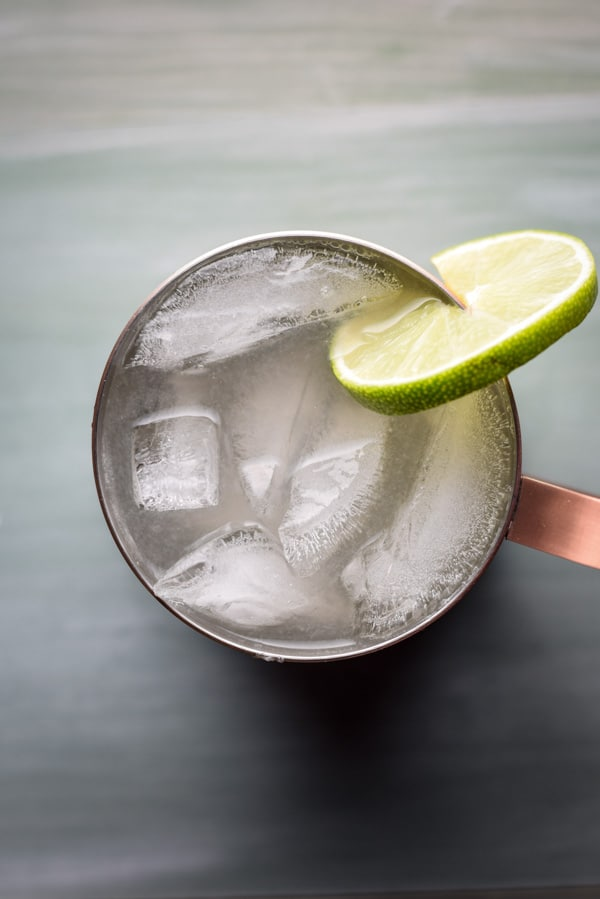Overhead view of a copper mug filled with the Moscow mule