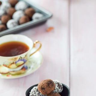Rum balls on a plate and ready to be indulged