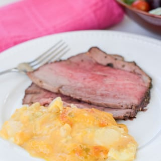 Served comforting scalloped potatoes casserole served and ready to eat