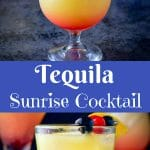 Tequila Sunrise Cocktail for Pinterest