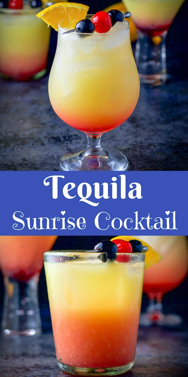 Not only is this tequila sunrise cocktail pretty, but it is delicious and really easy!  There are only 3 ingredients which makes it perfect to serve a crowd!  So sit by the pool and sip this delicious cocktail. #cocktail #drink #tequila #tequilasunrise #dishesdelishcocktails https://ddel.co/ttsc