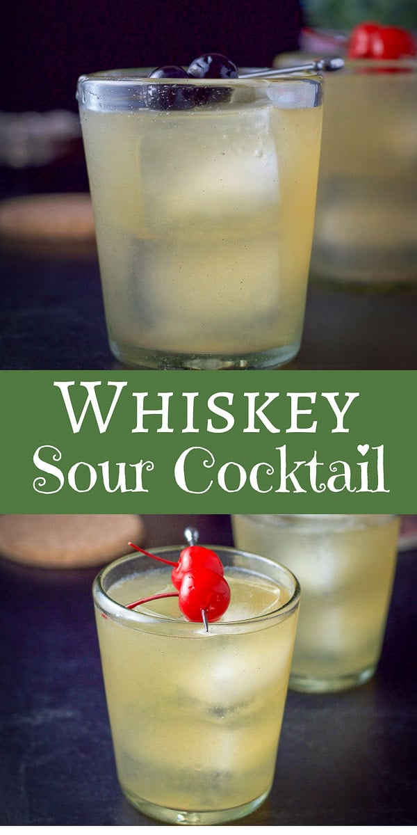 This whiskey sour cocktail refreshing, tasty and easy to make!  It only has three ingredients which makes it perfect to serve at your next party! #whiskey #whiskeysour #cocktail #drinks #dishesdelishcocktails https://ddel.co/wgwsc
