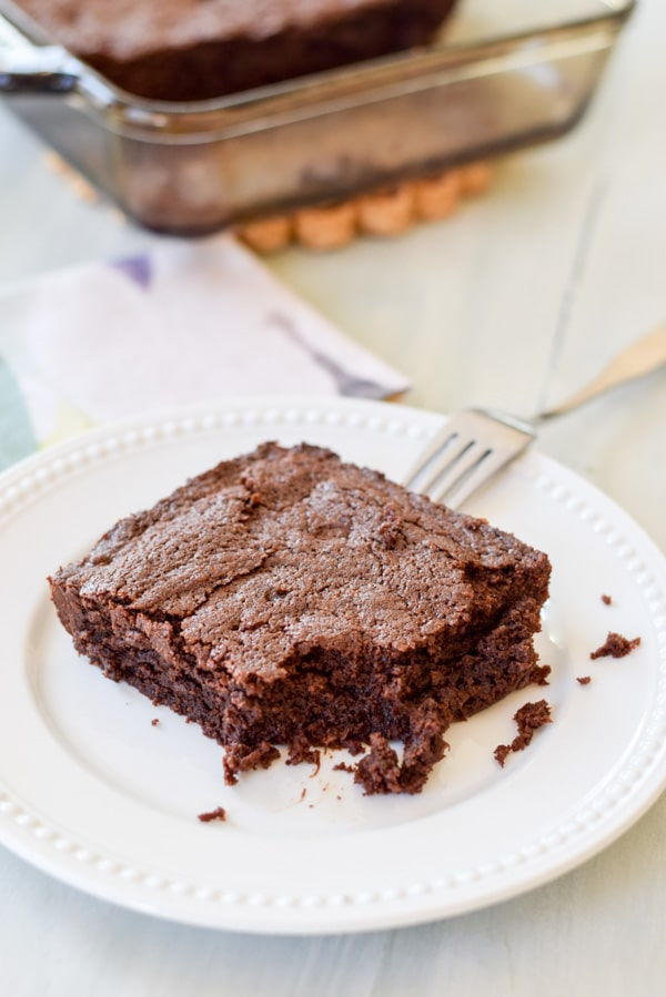 A big bite out of best from scratch brownies. Delicious and fudgy!