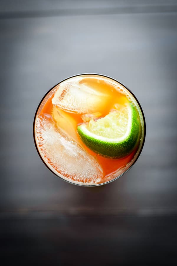 Aerial view of the exotic delicious dark and stormy cocktail