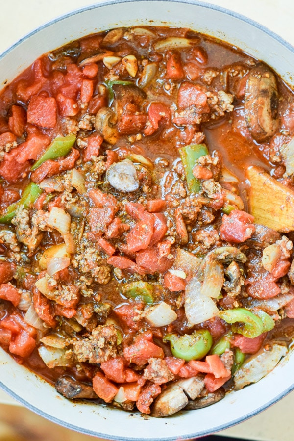 All the ingredients together for the super easy comforting beef chili