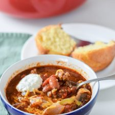 Super Easy Comforting Beef Chili ready to be eaten