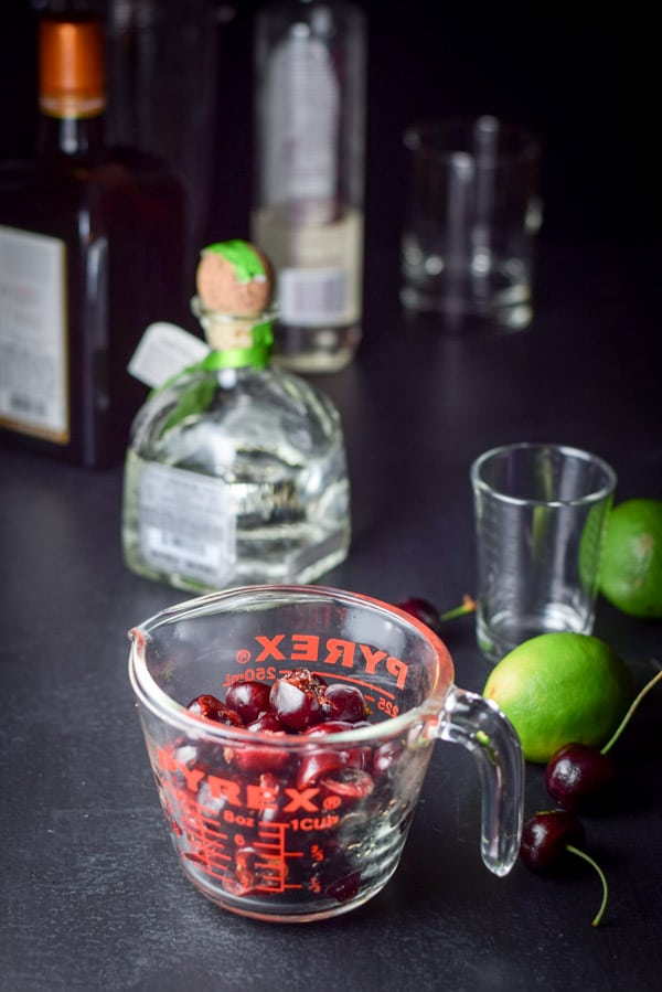 All the ingredients for the frozen cheerful cherry margarita