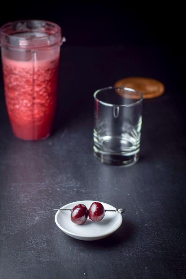 Cherry garnish for the frozen cheerful cherry margarita