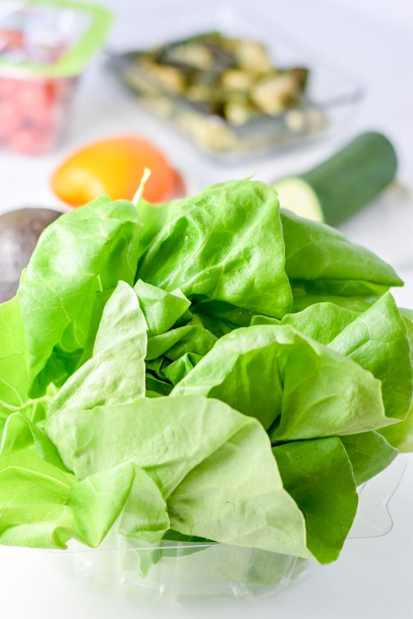 Boston lettuce and all the ingredients for the beautiful Boston lettuce vegetable salad