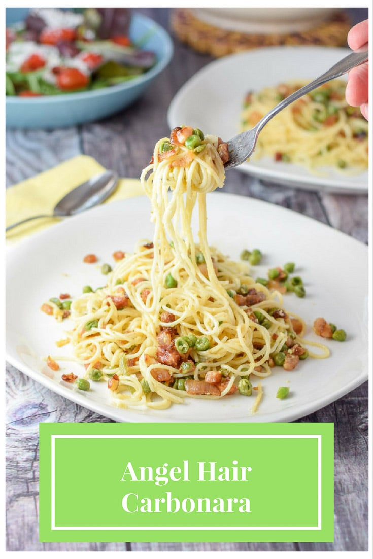 This artichoke angel hair carbonara is popular because it's so easy and so delicious! #carbonara #bacon #pasta #dinner #dishesdelishrecipes