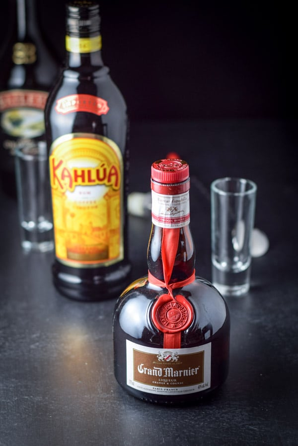 Grand marnier, kahlua, and bailey's Irish cream for the party time B52 shot recipe