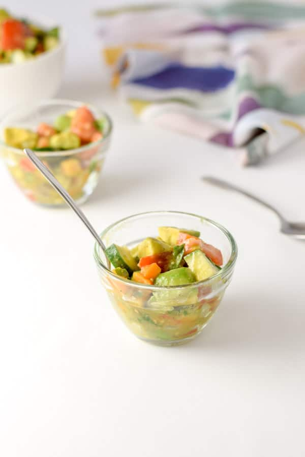Refreshingly healthy avocado salad served and ready to eat