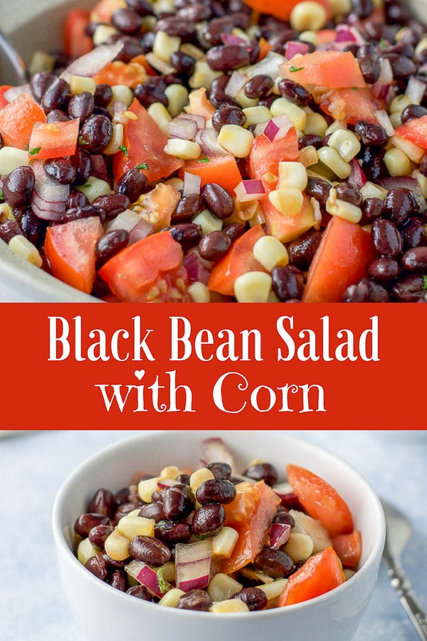 This black bean salad with corn recipe is so nicely balanced that no flavor dominates.  The mixture of oil, balsamic vinegar and lime juice perfectly compliments this delicious salad.  #beans #blackbeans #salsa #blackbeansalsa #dishesdelish http://ddel.co/bbsalad