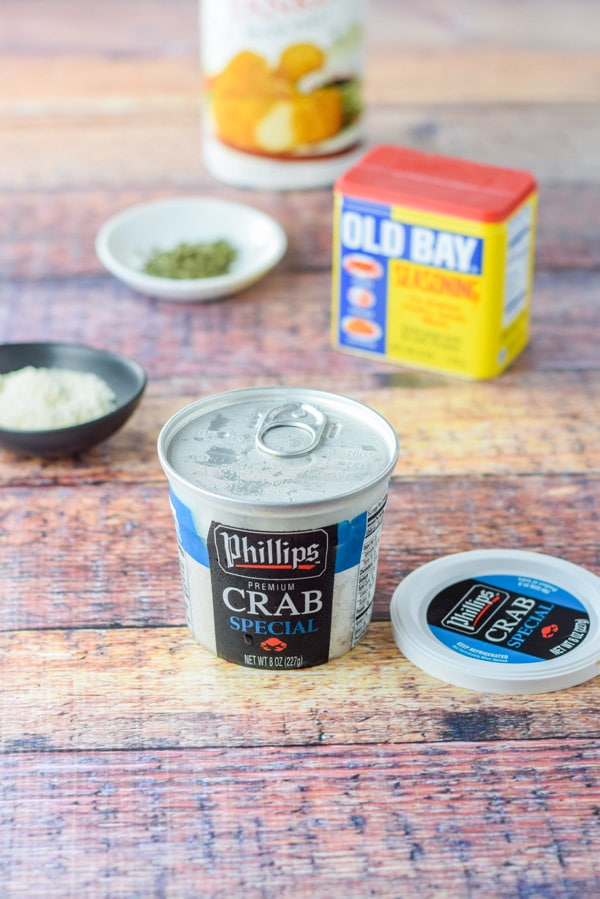 Crab and other ingredients for the crazy good savory crab stuffed mushroons