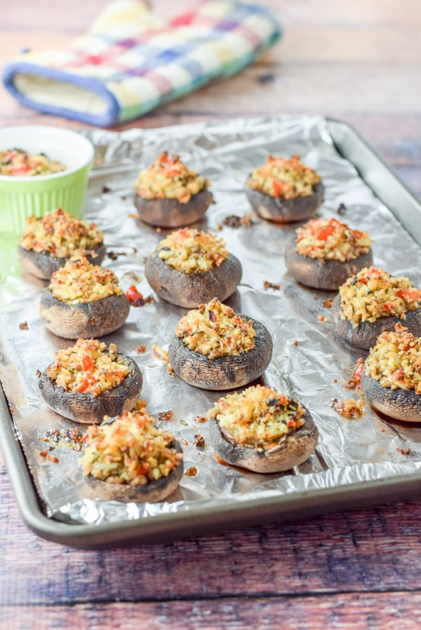 Crazy Good Savory Crab Stuffed Mushrooms fresh out of the oven but still on the pan