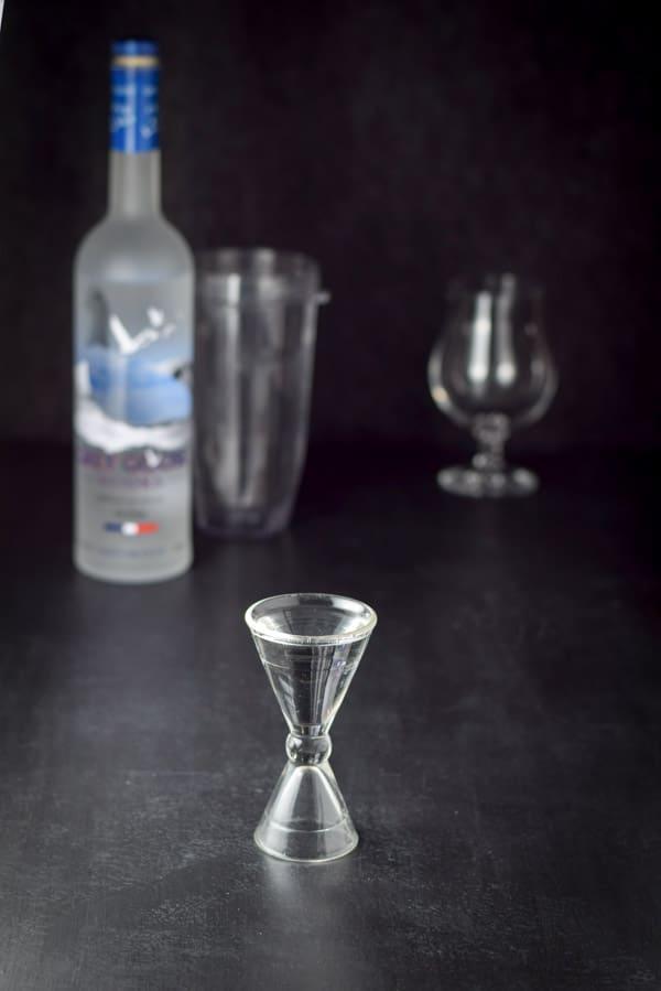 Vodka measured for Nancy's Indulgent Delicious Frozen Mudslide Cocktail