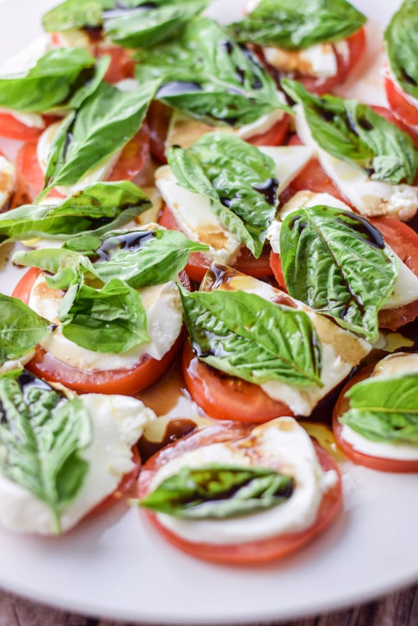 Scrumptious and easy caprese salad ready to be eaten