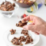 A bite of easy delicious chocolate granola clusters