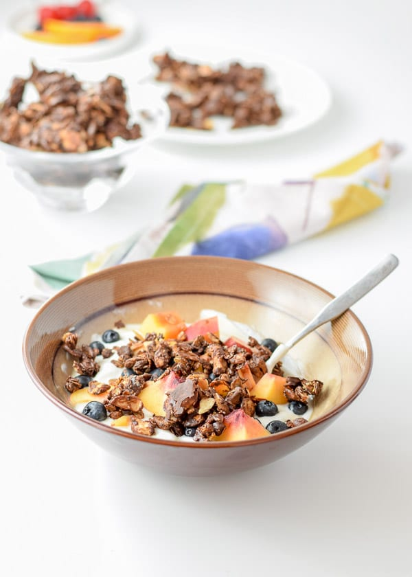 Yogurt for the easy delicious chocolate granola clusters