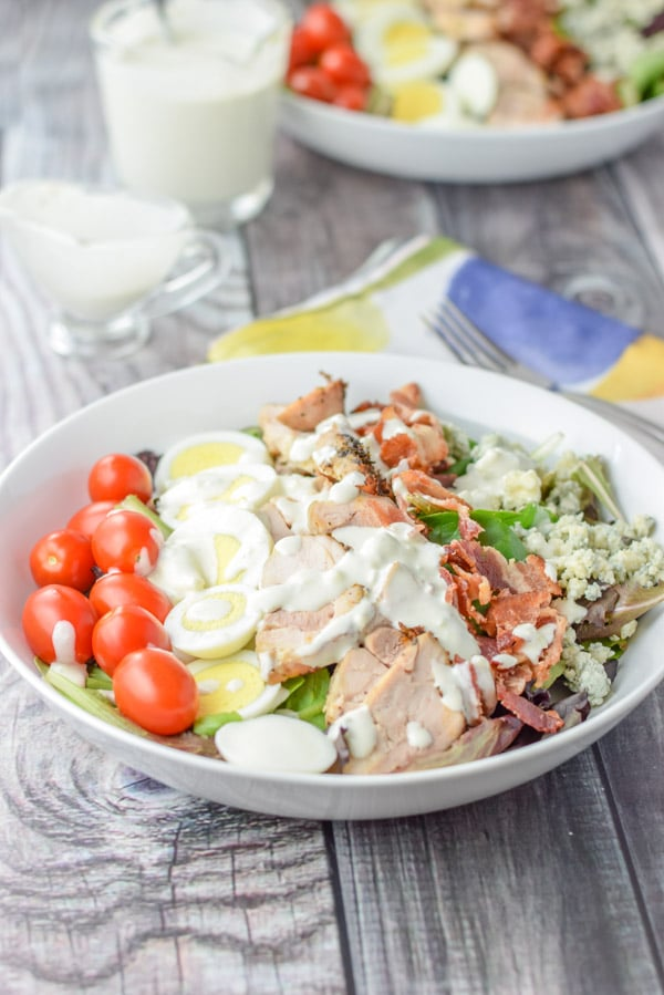 Dressing on the easy delicious Cobb salad
