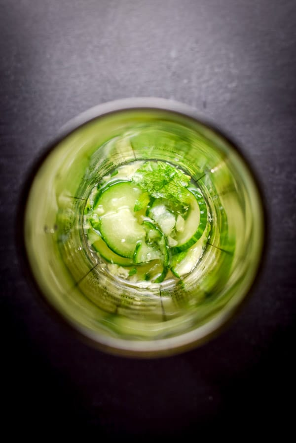 Muddled the cucumber and mint with the exquisitely cool cucumber mint martini