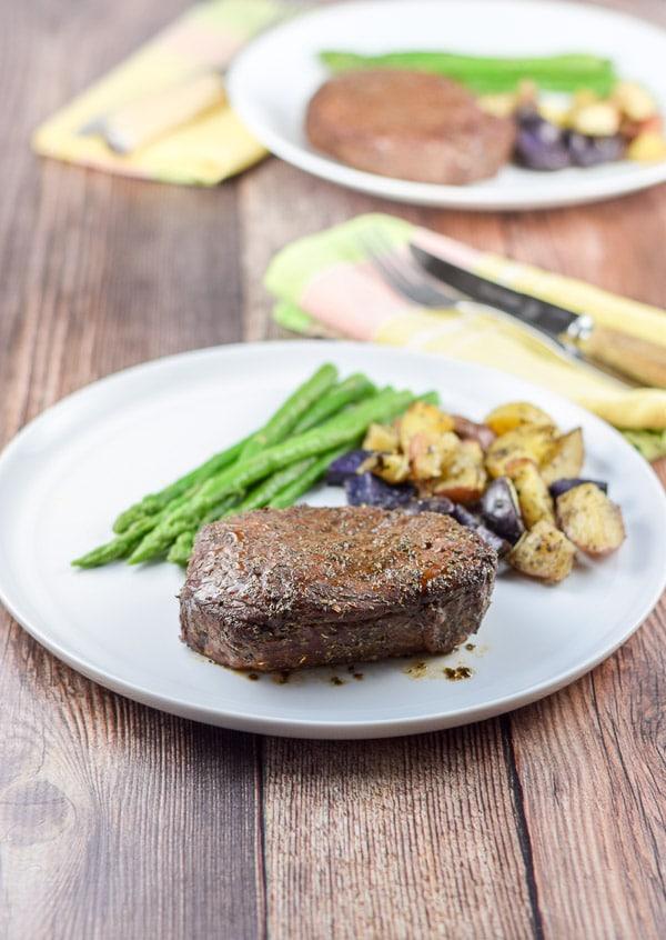 Plated medium rare sirloin steak filets