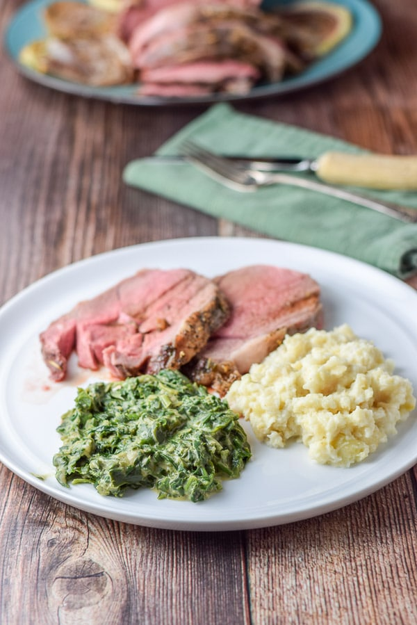 Plated Bena's German style creamed spinach