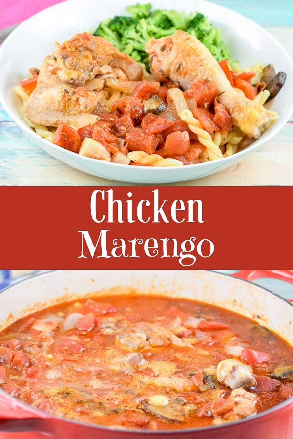 This chicken Marengo is full of flavor and can be on your table in a little over an hour.  It's hearty and delicious and perfect on some fresh pasta! #chicken #dinner #chickenmarengo #dishesdelish http://ddel.co/chixmare