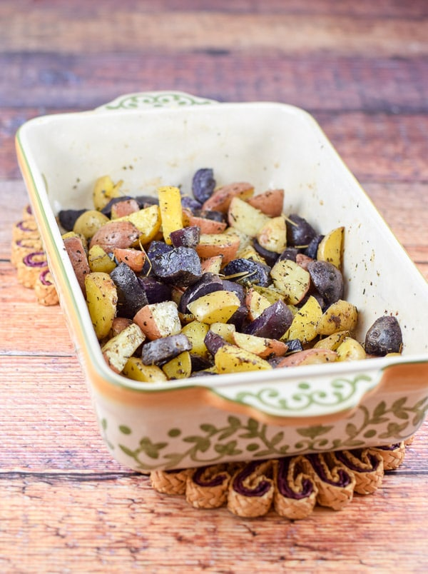 Colorful roasted baby potatoes recipe done to perfection