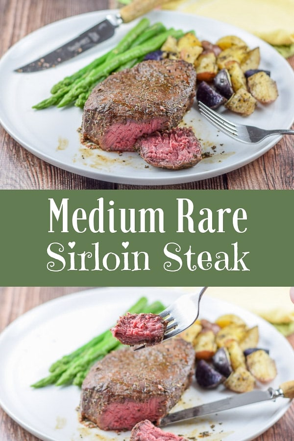 This is the perfect way to cook medium rare sirloin steak!  You bake it to the perfect doneness every single time!  It's juicy and delicious.  #sirloin #mediumrare #steak #dishesdelish http://ddel.co/gfsirloin