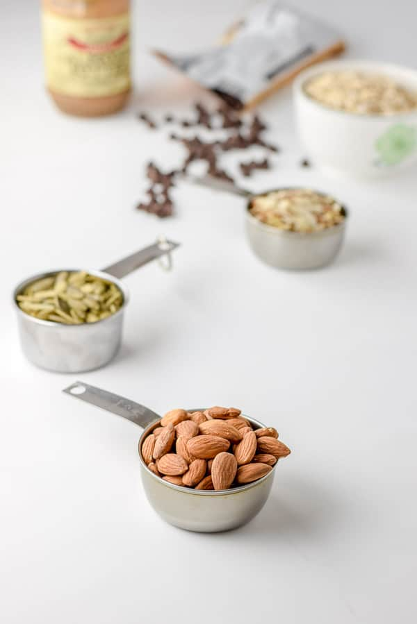 Almonds, pumpkin seeds, slivered almonds and rolled oats for the almond butter nutty granola bars