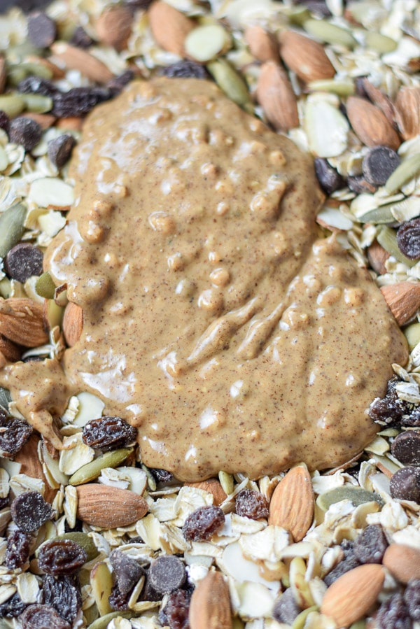 Almond butter and the ingredients all together for the almond butter nutty granola bars