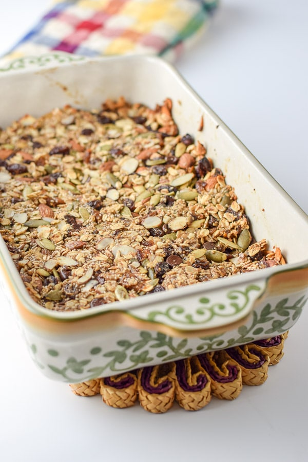 Baked almond butter nutty granola bars