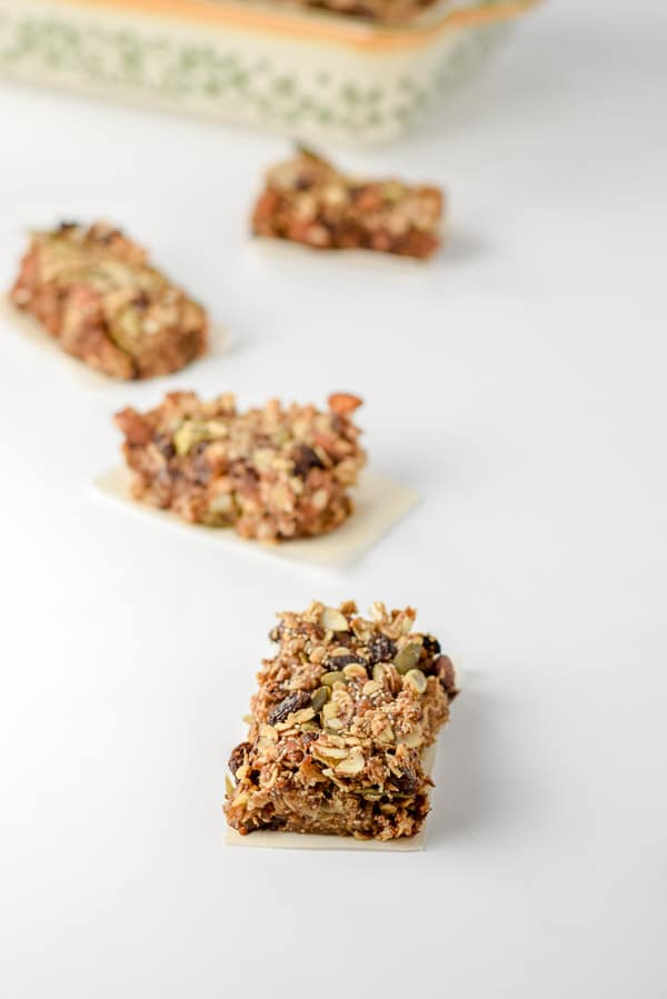 cut up almond butter nutty granola bars