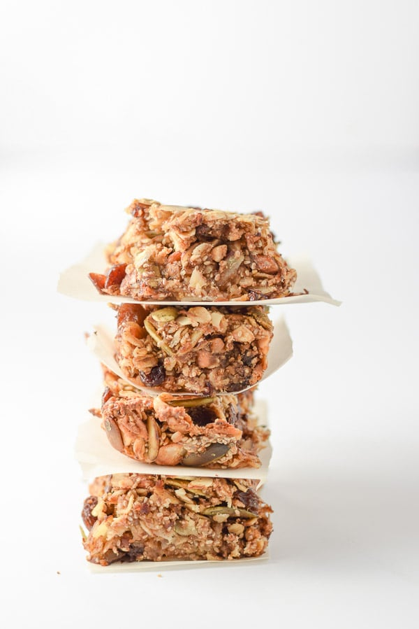 A leaning tower of almond butter nutty granola bars