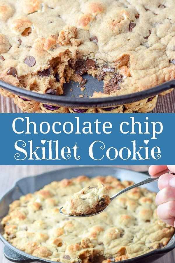 Ooey, gooey and oh so chocolatey, this toasted marshmallow chocolate chip skillet cookie is not only delicious alone, or with a few scoops of ice cream.  #skilletcookie #chocolatechipcookie #dishesdelish