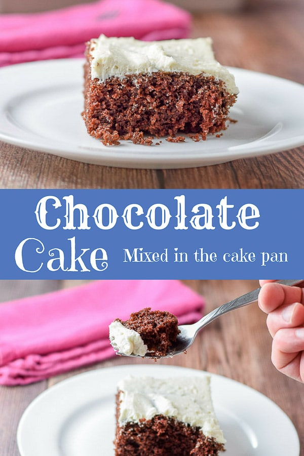 This chocolate cake is a family favorite!  Not only is it moist and delicious BUT you mix it directly in the pan.  How cool is that? #chocolatecake #chocolate #cake #dishesdelish http://ddel.co/cakepnck