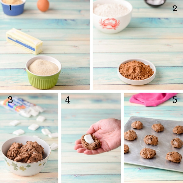 Collage of the step by step shots for the Chocolate Marshmallow Cookies