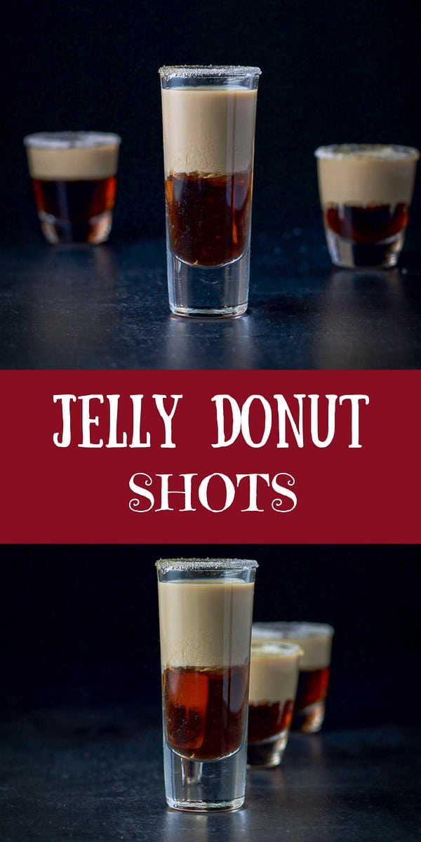 This jelly donut shot recipe is so fabulous!  You layer Chambord and Baileys and when you shoot it, you get a delicious jelly donut taste in your mouth! No chewing needed :) #jellydonutshot #jellydonut #layeredshot #Chambord #BaileysIrishCream #dishesdelishcocktails https://ddel.co/jds