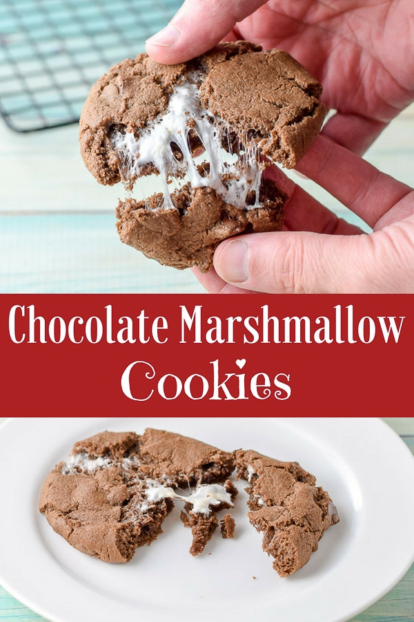Soft gooey cookies.  Why so gooey?  Because they are chocolate marshmallow cookies.  So incredibly delicious! #marshmallow #chocolate #chocolatecookies #dishesdelish http://ddel.co/marscookies