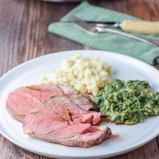 Plated really lovely roasted boneless leg of lamb